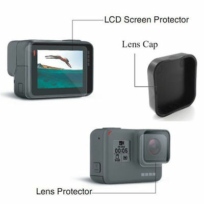 For GoPro HERO 5 6 Lcd Screen + Lens Protector Film Foil + Silicon Lens Cap