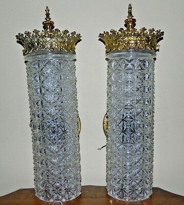 Vintage Rare 2 Moe Thomas Hollywood Regency Cut Glass/Gilded Metal Wall Sconces