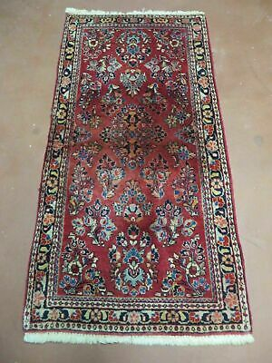 2' X 4' Antique 1920 Hand Knotted Made Persian Sarouk Wool Rug Carpet Red Nice