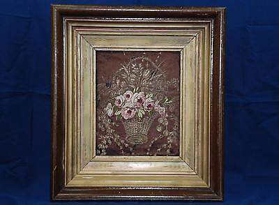 Antique Needlepoint Picture Victorian 19th C Floral Framed