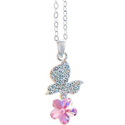 16'' Rhodium Plated Necklace w/ Butterfly Flower & Pink Crystals by Matashi