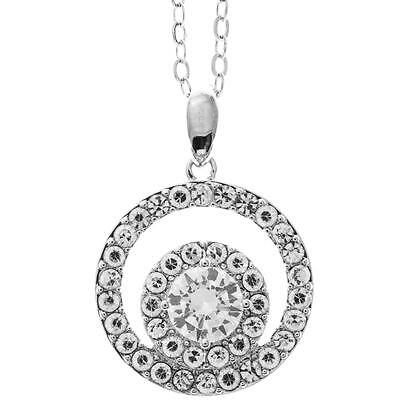 16'' 18K White Gold Plated Necklace w/ Double Circle & Clear Crystals by Matashi
