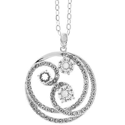 16'' 18K White Gold Plated Necklace w/Entangled Swirl & Clear Crystals by Matash