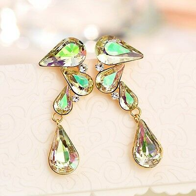 Sparkly Swarovski Crystal Element Green Yellow Gold Plated Drop Dangle Earrings
