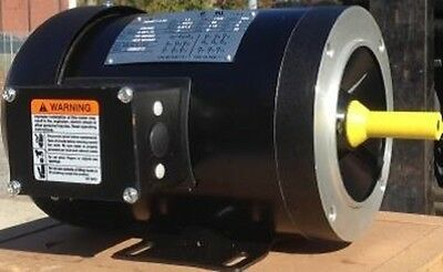 2 HP Electric Motor 56C Frame 3 Phase TEFC 208-230/460 3600 RPM Rolled Steel