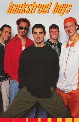 """MUSIC POSTER~Backstreet Boys 1998 Yellow Group Hands In Pocket 22x34"""" OOP Rare~"""