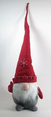 "Scandinavian Felt Gnome Gray Body & Red Hat Christmas Holiday Decor 32"" Tall"