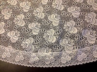 """True Vintage Round Lace Wedding Tea Tablecloth Exotic Flowers Pattern, 66"""" Dia."""