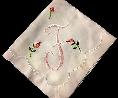 "Adorable Embroidered Monogram Handkerchief has label ""Japan"" never used, 12 x 12"