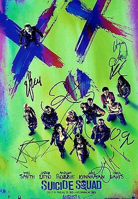 SUICIDE SQUAD - CAST SIGNED PHOTO PRINT - SIGNED BY JARED LETO/MARGOT ROBBIE etc