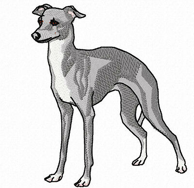 Gray Italian GreyHound Embroidery Patch