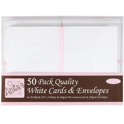 50 Blank White A6 Cards and Envelopes Anita's