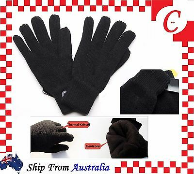 MEN MENS WINTER Thermal Warm Knitted  Knit INSULATION FLEECE GLOVES Black