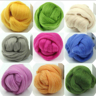 Wool Top Roving Dyed Spinning Wet Felting Fiber Crafts