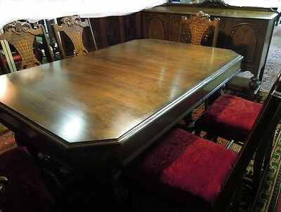 Basset Dining room  Table Chairs Colonial Revival  Sideboard Reupholstered