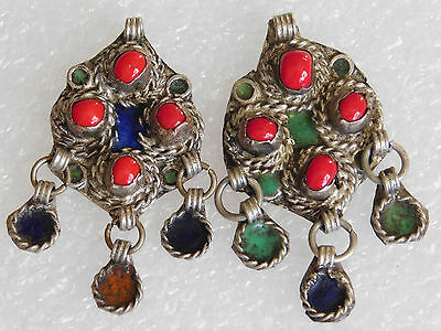 Moroccan enameled pair of Berber pendants with dangles and glass beads