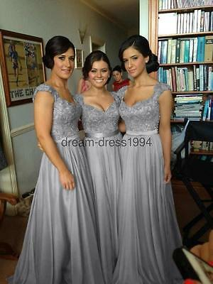 Stock New Long Chiffon Bridesmaid Dress Wedding Evening Party Prom Gown Size6-18