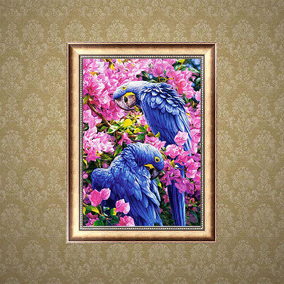 Two Parrots 5D Diamond Embroidery Painting DIY Cross Stitch Kit Home Wall Decor