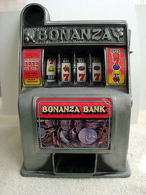 "Vintage Bonanza Slot Machine Collectible Bank WORKS GREAT 1970s 11"" tall x 8"" W"