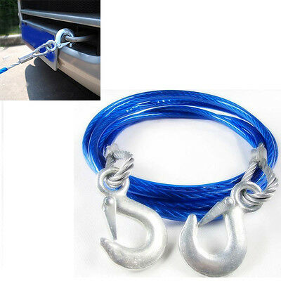 5 Ton 4m Car Steel Wire Tow Rope Towing Pull Strap Rope With Hook Heavy Duty