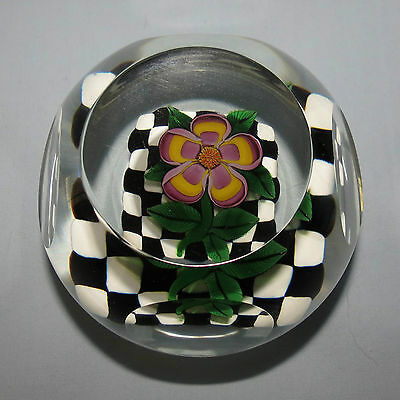 John Deacons Scotland Paperweight Flower On Checkerboard Facetted