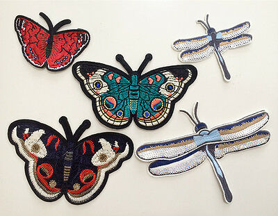 Patches Butterfly dragonfly Applique sequins clothing accessory embroidery