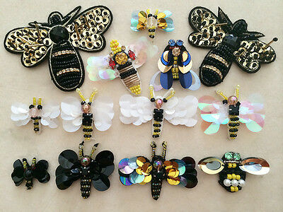 Patches Bee Applique sequins beading clothing accessory embroidery sock shoe hat