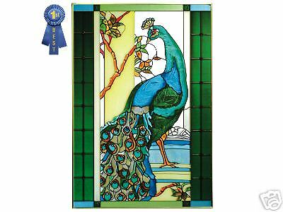 PEACOCK Stained Glass Hand Painted Art Panel 14 x 20.5