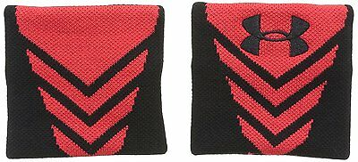 UNDER ARMOUR Performance Wristbands Black/Red Set of 2 Unisex Size OSFM NWT