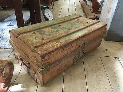 Vintage Rustic Large Metal Box Trunk Chest Table Stoarge Planter Treasure