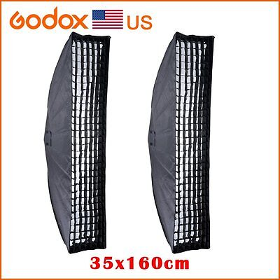 2x Godox 35x160cm Honeycomb Grid Softbox Bowens Mount Studio Strobe Camera Light