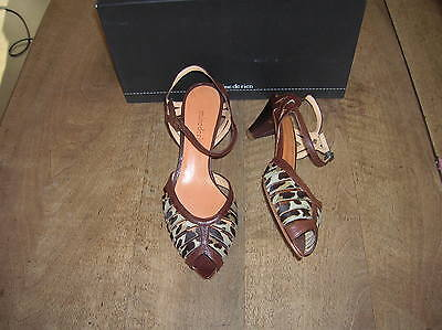 MINE RIEN leather choco leopardo heel 5cmNEUVES Val E Size 35.5,36.5
