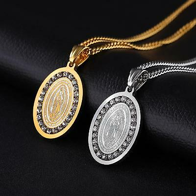Unisex Stainless Steel Cubic Zirconia Lady of Guadalupe Oval Pendant Necklaces