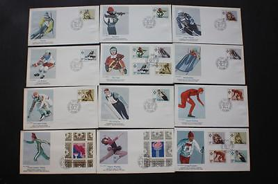 Set #1664-73 Winter Olympics Yugoslavia Stamp Fleetwood First Day Covers Fdc