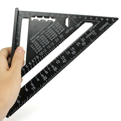 """7"""" Aluminium Alloy Roofing Rafter Speed Square Angle Measure Tool Triangle Guide"""