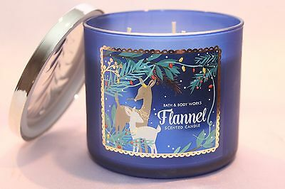 New 1 Flannel Bath & Body Works 3-Wick Filled Scented Candle Large 14.5 Oz