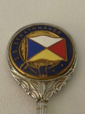 Vintage plated enamel shipping souvenir spoon - S.S. Strathnaver