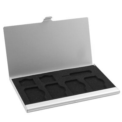 Aluminum Alloy 7 Slots SIM Card Storage Box Case Holder Silver Tone