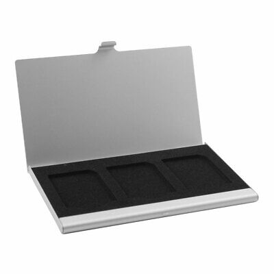 Aluminum Alloy 3 Slots SIM Card Storage Case Silver Tone for Memory SD TF Card