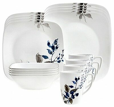 Corelle Dinnerware Set Square 16-Piece Boutique Kyoto Night Dining Appliance NEW