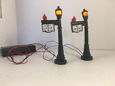 2 Street Lamps Christmas Village Accessory Battery Operated - 4 inches tall
