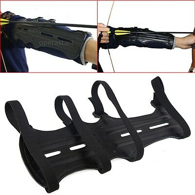 Adjustable 4 Strap Band PU Leather Shooting Archery Arm Guard Bow Long Protector