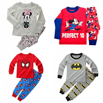 Infant Kids Boys Girls Spider-man Nightwear Batman Sleepwear Minnie Pajamas Sets