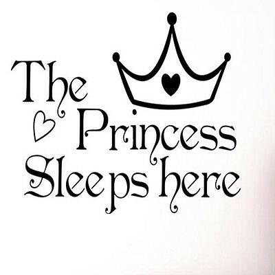 THE PRINCESS SLEEP Here With Crown Kids Lettering Vinyl Decal Wall