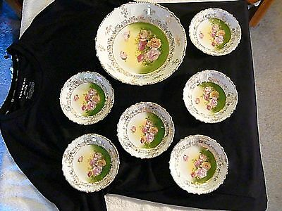 Antique Large Gilt & Roses Hand Painted, Serving Bowl & 6 Small Bowls, Beautiful