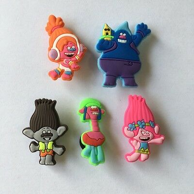 5-100pcs Hot Cartoon Trolls PVC Shoe Charms Accessories for Bracelet kids gifts