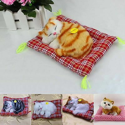 Lovely Simulation Plush Sleeping Cat Toy With Sound Cloth Mat Stuffed Decoration