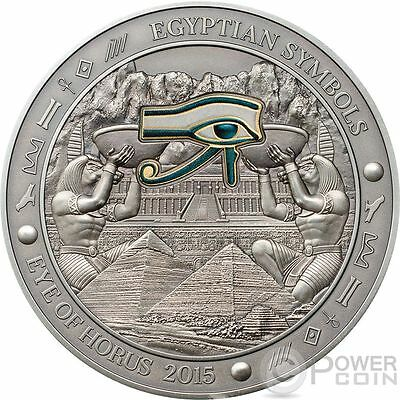 EYE OF HORUS Egyptian Symbols Gilded Colored Silver Coin 3 Oz 20$ Palau 2015