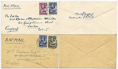 BECHUANALAND 1945 KG6 AIRMAIL 2 DIFFERENT RATES to GB