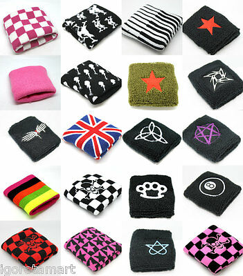 W/ Pattern Sports Terry Cloth Sweatband Flexible Sweat band Accessory PAIR